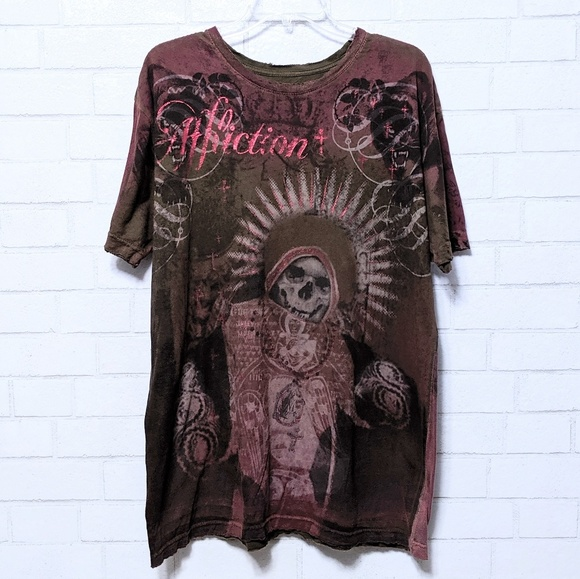 Affliction Other - Men's Affliction Red Skull Distressed T-Shirt XL